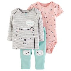 Baby Girl Carter's 3-pc. Bear Tee, Floral Bodysuit & Pants Set