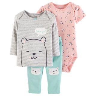 Baby Girl Carter's 3-pc. Bear Tee, Floral Bodysuit & Pants Set