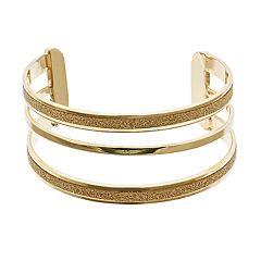 Gold Tone Glittery Multi Row Cuff Bracelet