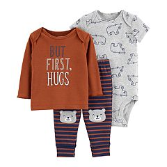 Baby Boy Carter's 'But First, Hugs' Tee, Bear Bodysuit & Pants Set