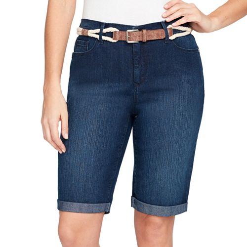 7387634bd1 Women's Gloria Vanderbilt Joslyn Belted Bermuda Jean Shorts