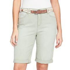 Women's Gloria Vanderbilt Joslyn Belted Bermuda Jean Shorts