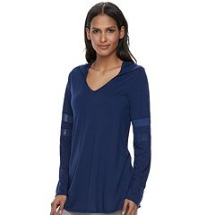 Women's French Laundry Mesh Sleeve Hooded Tunic