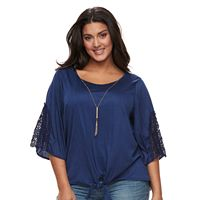 Plus Size French Laundry Tie-Front Lace Top