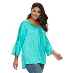 Plus Size French Laundry Crochet Lace-Up Top