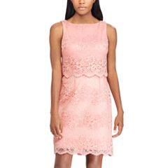 Women's Chaps Scalloped Lace Sheath Dress