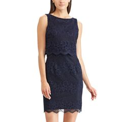 Women's Chaps Scalloped Lace Sheath Dress