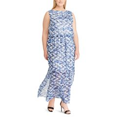 Plus Size Chaps Print Blouson Maxi Dress