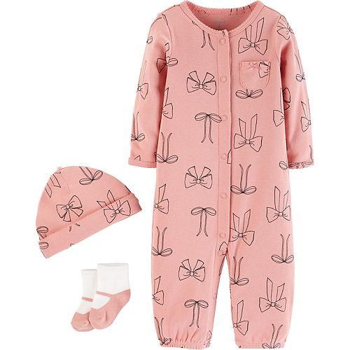 Baby Girl Carter's Bow Coverall, Hat & Socks Set