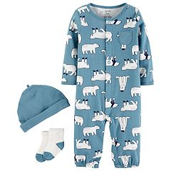 Baby Boy Carter's Polar Bear Coverall, Hat & Socks Set
