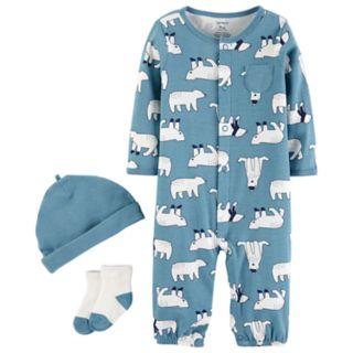 Baby Boy Carter's Polar Bear Coverall, Hat & Socks Set