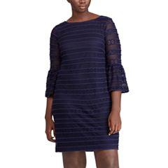 Plus Size Chaps Lace Bell-Sleeve Shift Dress