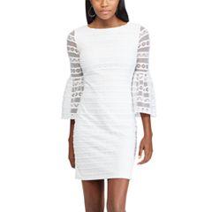 Petite Chaps Lace Bell-Sleeve Shift Dress
