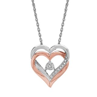Two Hearts Forever 1 Diamond Accent Heart Pendant Necklace