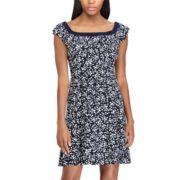 Women's Chaps Print Ruffle Fit & Flare Dress