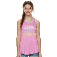 Juniors' About A Girl 'Sand, Surf & Sunsets' Racerback Tank