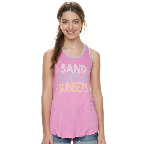 """Juniors' About A Girl """"Sand, Surf & Sunsets"""" Racerback Tank"""