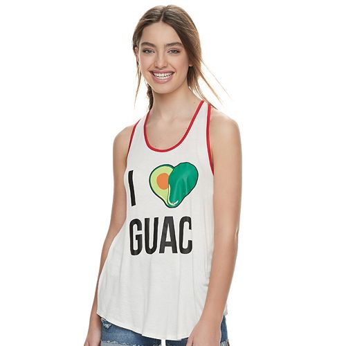 "Juniors' About A Girl ""I Love Guac"" Racerback Tank"