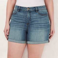 Plus Size LC Lauren Conrad Rolled Denim Shorts
