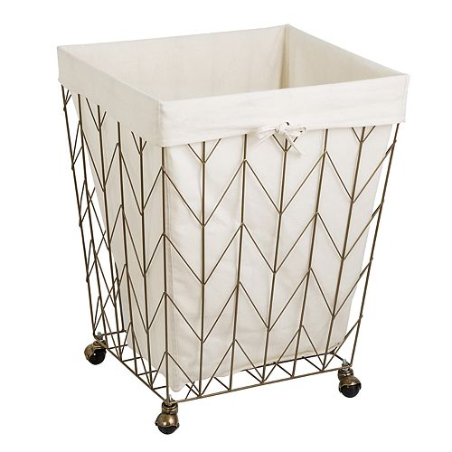 Honey-Can-Do Coastal Collection Rolling Laundry Hamper