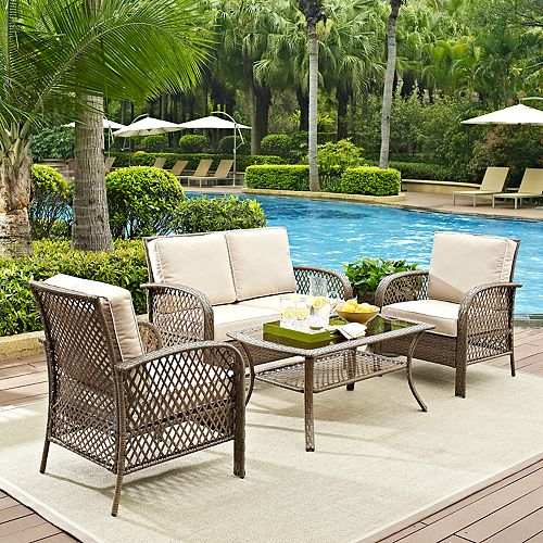 Crosley Furniture Tribeca Patio Wicker Loveseat, Chair & Coffee Table 4-piece Set