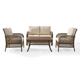 Crosley Furniture Tribeca Patio Wicker Loveseat, Chair & Coffee Table 4-piece Set