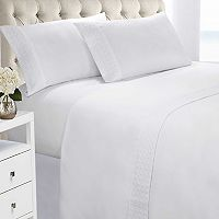 Quilted Hem Brushed Microfiber Sheet Set
