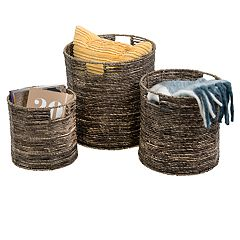 Honey-Can-Do Coastal Collection 3-piece Nesting Storage Bin Set