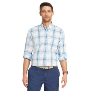 Big & Tall IZOD Classic-Fit Essential Plaid Woven Button-Down Shirt