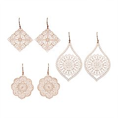 Nickel Free Filigree Drop Earring Set