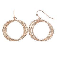 Nickel Free Triple Rope Hoop Earrings