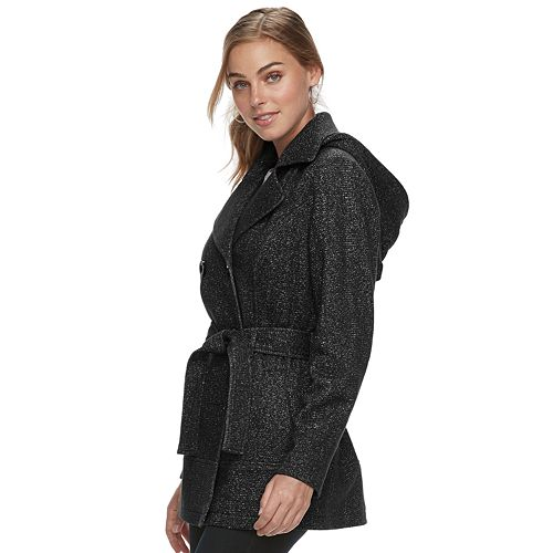 Women's d.e.t.a.i.l.s Hooded Double-Breasted Fleece Jacket