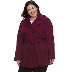 Plus Size d.e.t.a.i.l.s Hooded Double-Breasted Fleece Jacket