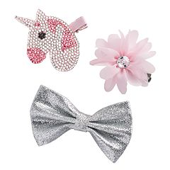 Girls 4-16 Elli by Capelli Unicorn, Flower & Bow Hair Clip Set