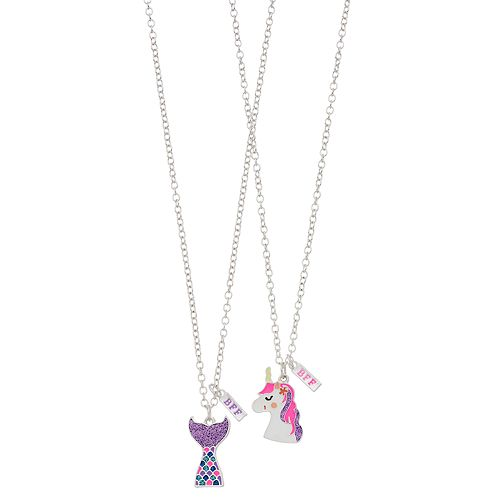 Girls 4-16 Elli by Capelli Unicorn & Mermaid Tail Best Friends Necklace Set