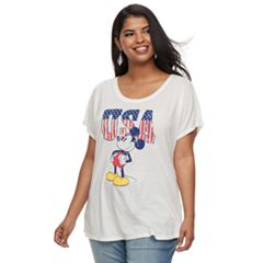 Juniors' Plus Size Disney's Mickey Mouse American Classic Tee