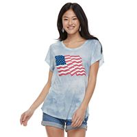 Juniors' Wavy Flag Tie-Dye Tee