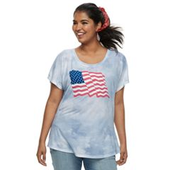 Juniors' Plus Size Wavy Flag Tie-Dye Tee