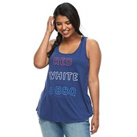Juniors' Plus Size Red, White & BBQ Tank Top