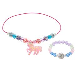 Girls 4-16 Elli by Capelli Unicorn Stretch Necklace & Stretch Bracelet Set