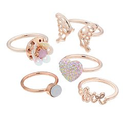 Girls 4-16 Elli by Capelli Butterfly, Heart & 'Love' Ring Set