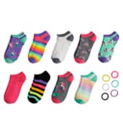 Girls 7-16 Elli by Capelli 9-pack No-Show Socks with Hair Accessories