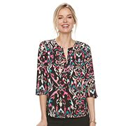 Women's Dana Buchman Pleated Splitneck Top