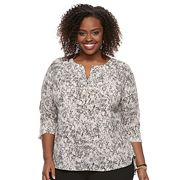 Plus Size Dana Buchman Pleated Splitneck Top
