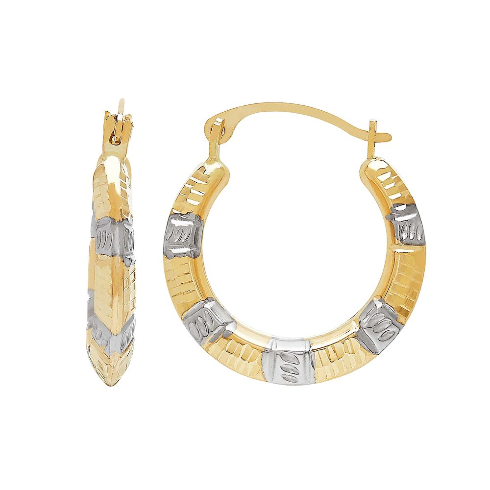 Everlasting Gold Two Tone 10k Gold Textured Hoop Earrings