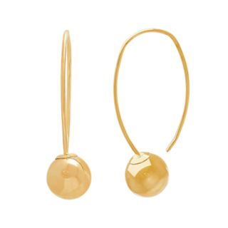 Everlasting Gold 14k Gold Wire & Ball Drop Earrings