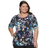 Plus Size Dana Buchman Shirred Elbow Sleeve Top