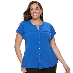 Plus Size Dana Buchman Button Front Peplum Top
