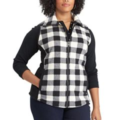 Plus Size Chaps Buffalo Check Fleece Vest