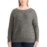 Plus Size Chaps Cable-Knit Crewneck Sweater